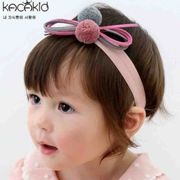 Wholesale Wholesale Plush For Hair - New 2017 Cute Baby Headbands For Girls Birthday bowknot Plush Ball Hair Bands Boutique Children Headbands Hair Accessories A6219