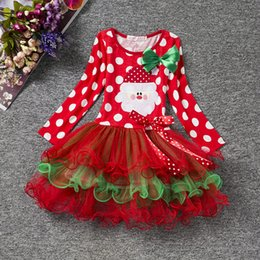 Wholesale Holiday Outfit Girls - Baby Girls christmas red dress costume outfits for toddler little kids children infant X'mas tutu skirts 1-4T babies holiday dresses up