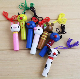 Wholesale Wooden Whistles Wholesale - Random Color Wooden Toys Baby Kids Cartoon Animal Whistle Educational Musicial Instrument Toy for Baby YH1109