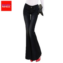 Wholesale Stretch Women Jeans Bell Bottom - Wholesale- KOZONHEE Stretch Elastic Black Flare Jeans Women Long Stretching Bell-Bottoms Jeans For Girls Trousers Women Jeans Large Size