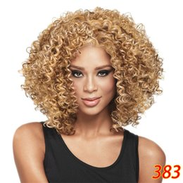 Wholesale Cheap Short Afro Wigs - Cheap Wig Fashion Short Bob Afro Curly Fluffy Synthetic Hair Wigs Side Bang Wig for Women 4 Colors Choose