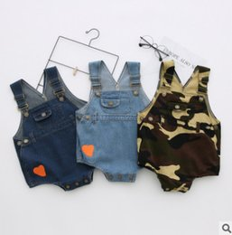 Wholesale Baby Boy Winter Overalls - Infant jeans romper baby girls boys love heart denim jumpsuits Newborn toddler kids camouflage overalls Valentine's Day clothing R1104