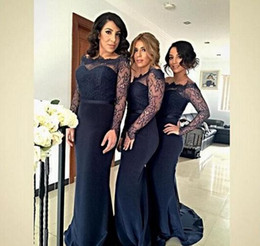 Wholesale Pricing Chart - 2016 Sheer Long Sleeve Bridesmaid Dresses Navy Blue Satin Sheath With Sexy Lace Junior Wedding Party Dress Cheap Price Vestidos Formal Gowns