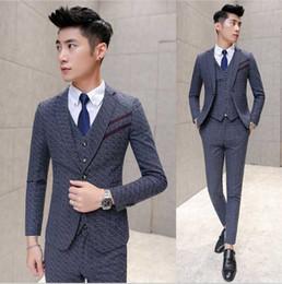 Wholesale Cool Slim Men Blazer - Wholesale- New Arrival Hot Sale Brand 2016 men's fashion casual high qulaity weeding cool suits male slim korea style blazer vest and pants