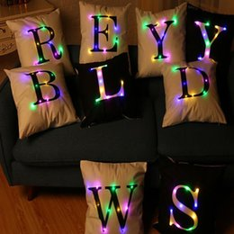Wholesale Light Up Pillows - Letter Alphabet Pillow Case 45*45cm LED Light Pillows Cushion Cover Light Up Pillowcase Car Home Sofa Decoration JU151