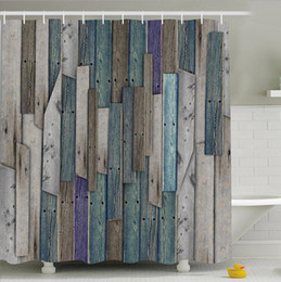 Wholesale Rustic Hooks - Old Planks Rustic Series Shower Curtain Waterproof Polyester Fabric Bath Curtains 12 Hooks High Quality Bathroom Decoration 180*180cm 484