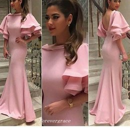 Wholesale Middle Sleeve Dress - High Quality Light Pink Long Prom Dress Unique Poet Half Sleeves Middle East Women Wear Special Occasion Formal Cheap Party Dress Plus Size