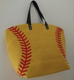 Wholesale Tote Bags For Wholesale - black baseball Tote Bag for Children different whitebaseball soccer football stitching bags women & Kids Cotton Canvas Sports Bags Baseball