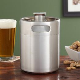 Wholesale Keg Barrel - Stainless Steel 2L Flagon Hip Flasks Mini Beer Bottle Barrels Beer Keg Screw Cap Beer Growler Homebrew Wine Pot Barware Party Tool