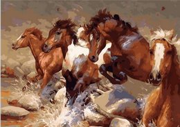 Wholesale Drawing Canvas - 40x50cm picture paint on canvas diy digital oil painting by numbers drawing home decor craft Running Horses