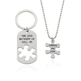 Wholesale Keyring Initials - Fashion Couple Necklace Key Chains The Love Between Us Will Be Forever And Ever Splicing Irregular Necklace Keyrings Sets