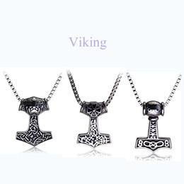 Wholesale Odin Pendant - Wholesale-Movie Jewelry Viking Pendant Necklace Norse Odin Thor's Hammer Mjollnir Necklace Punk Vintage Style Men Women Collares Jewelry