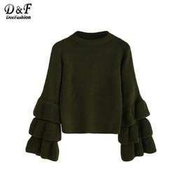 Wholesale Korean Winter Ladies Pullover - Wholesale- Dotfashion Woman Knitted Wweater Korean Winter Fashion Ladies Pullover Sweaters Olive Green Layered Ruffle Sleeve Sweater