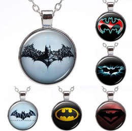 Wholesale Mixed Rhinestone Gems - Free shipping Super Hero Batman Series Time Gem Pendant Necklace Silver WFN369 (with chain) mix order 20 pieces a lot