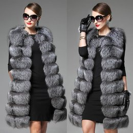 Wholesale White Real Rabbit Fur Jacket - Wholesale-2017 White Black Winter Women Knitted Rabbit & Fox Fur Vest Plus Size Real Natural Rabbit Fur Coat Jackets Long Colete