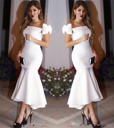 Wholesale Sexy Mini Wrap Dress - Exquisite Bow Cap Sleeves Little White Mermaid Cocktail Dresses 2017 Pleats Ankle Length Hi Lo Prom Evening Party Gowns Short Prom Cheap