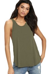 Wholesale Twist Tank - Cryg Newest 2017 Arrival Summer Women's Sexy O-Neck Army green Wine Red Rosy Black Twist Back Tank Top