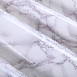 Wholesale Wholesale Kitchen Paper - Wholesale-61cmx2m Gray Marble Waterproof Vinyl Self adhesive Wallpaper Sticker Modern Contact Paper for Kitchen Cupboard