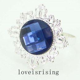Wholesale Napkin Navy Blue - Lowest price--50pcs high quality Navy Blue Gem Napkin holder Napkin Ring for Wedding Bridal Shower Favor Wedding Party Supplies