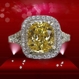 Wholesale Designs For Diamond Rings - Custom ForeverBeauty 2CT Luxury Star Design Cushion Cut Top Yellow Synthetic Diamond Rings For Wedding Jewelry