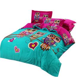 Cama de la reina del búho online-Al por mayor-Svetanya Owl funda nórdica conjunto de dibujos animados Juegos de cama 3d 3 / 4pc ropa de cama de algodón twin doble reina completa king size
