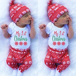 """Wholesale christmas pants for girls - INS Xmas """"My first christmas"""" Baby Short sleeved deer 3pc set boys girls gray tops & pants & hats best for 0-2years free ship"""