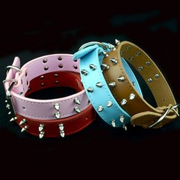 Wholesale Large Bullet - Estrella Pet Dog Collars for Large Pet Collar PU Leather Bullet Nails Collar for Dog Free Shipping
