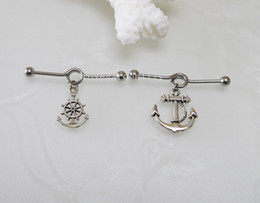 Wholesale Industrial Ear Barbells - 2pcs Anchor and rudder Industrial Barbell piercing ,Ear Jewelry Double Piercing,Anchor and rudder barbell Rings, body jewelry