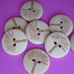 Wholesale Circular Decoration - 100-Pack wooden buttons cufflinks clothing button laser tree circular button DIY kids clothing decoration, jewelry decoration accessories