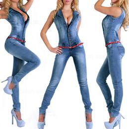 Wholesale Denim Shirt Rivets - New Arrival 2017 jumpsuits jeans European style Women Jumpsuit Denim Overalls Shirt Rompers Girls Pants Jeans S-XL Bodysuit 2043