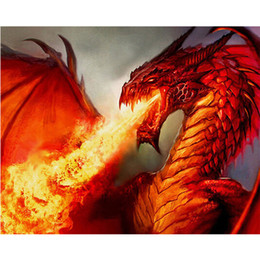 Wholesale Fire Crystals - DIY Diamond Painting Embroidery 5D Fire Dragon Pattern Cross Stitch Crystal Square Unfinish Home Bedroom Wall Art Decor Craft Gift