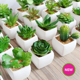 Wholesale Artificial Pot - Mini Artificial Green Plants With Ceramic Pot PVC Green Bonsai Potted Landscape Succulent & Cactus for Office Home Decoration 93-1019