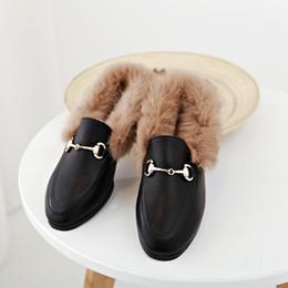 Wholesale Girls Rabbit Fur - Fashion Women Winter Slippers Rabbit Fur Thick Soled Slipper Cover Toe Girls Warmly Flat Shoes 35-40