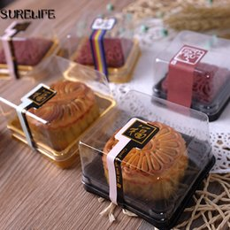 Wholesale Wholesale Cupcake Holder Boxes - Black&Gold Bottom Plastic Moon cake holder Cake Box Cupcake Container Wedding Favor Boxes Supplies