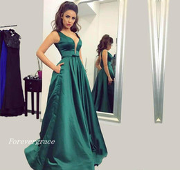 Wholesale Winter Holidays - 2017 Fashion Emerald Green Prom Dress Satin Formal Holidays Wear Graduation Evening Party Pageant Gown Custom Made Plus Size