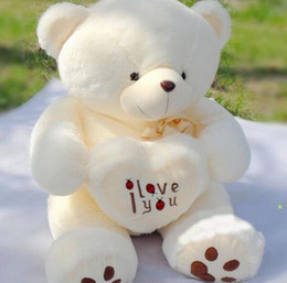 Wholesale Teddy Bear Cute Heart - Wholesale- 1pc 50cm&70cm Cute Stuffed Plush Toy Holding LOVE Heart Big Plush Teddy Bear Soft Gift for Birthday Girls' Brinquedos