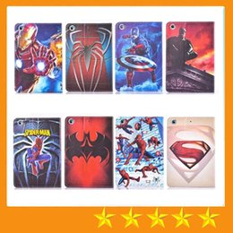 Wholesale Ipad Spiderman - Cartoon Superman Batman Spiderman Tablet Covers Flip PU Leather with stand case for ipad mini 4 mini123 ipad 234 Air 5 Air2 6