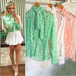 Wholesale Girl Pajamas Bow - Lace Girl Fashion 2017 Fall Women's Butterfly Long Sleeve Top Office Ladies Blouse Blusas Frilly Shirt Collar Collar Collar OL Pajamas