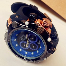 Wholesale blue gem stones - 2018 NEW AAA INVICTA MEN SPORT RUBBER 6 POINTER ROTATING RING WORK BIG 190G CALENDAR HIGH QUALITY RETAIL