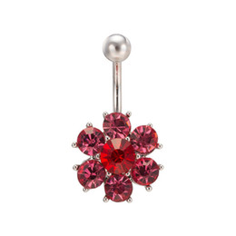Wholesale Titanium Navel Piercing Jewelry - Most Fashion Body Jewelry Titanium Steel Colorful Crystal Flower Navel Stud Rings Fashion Stainless Steel Piercing BR-001