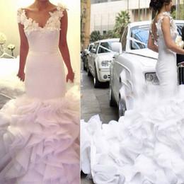 Wholesale Ruffle Bottom Wedding Dresses - Bridal Mermaid V-neck Vestido Casamento Ruffled Organza Bottom Wedding Gowns Wedding Bridal Dress With Hand Made Flowers Appliques