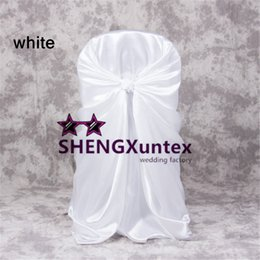 Wholesale Nylons Spandex Chair Covers - Satin self Tie Chair Cover For Wedding   Universal Chair Cover