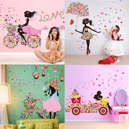 Wholesale Wall Flower Decals - DIY Beautiful Girl home decor wall sticker flower fairy wall sticker decals Personality butterfly cartoon wall mural for kid's room