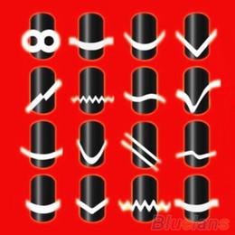Argentina 2016 Diseñado Nuevo 2 Unids Chic 18 Estilos Manicura Francesa Nail Art Salon Tips Pegatinas de Cinta Guía DIY Stencil Decoraciones 8LDS Suministro