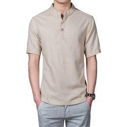 Wholesale Mens Mandarin Shirts - Wholesale- Summer New Style Summer Mens Shirts Casual Slim Fit Solid Short Sleeve XXXL Linen Shirts Men Casal 2017 (Asian Size)