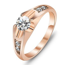Wholesale Polish Rose Ring - Wedding Bands Classic Rings Rose Gold Color Polish Rings For Women Fashion Brand Jewelry Antique Rings