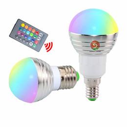 Wholesale Rgb Spots - RGB LED Bulb E27 E14 3W LED Lamp Light Led Spotlight Spot light Bulb 16 Color Change Dimmable +24Keys Remote Controller