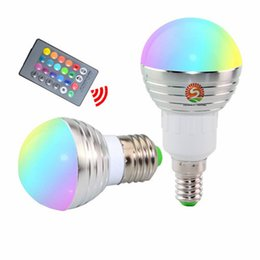 Wholesale E14 Rgb Led Lamp Bulb - RGB LED Bulb E27 E14 3W LED Lamp Light Led Spotlight Spot light Bulb 16 Color Change Dimmable +24Keys Remote Controller