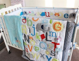 Wholesale Boy Comforters - American Baby Summer Crib Bedding Set 5 PCS Boys New 26 Letters A to Z Inc Comforter ,Bumer, Coverlet, blanket and Skirt