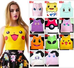 Wholesale Bare Midriff - New Hot Poke Pattern Women Bare Midriff Tank Tops Pikachu Charmander Print Crop Top For Lady Female Sleeveless Tee Vest